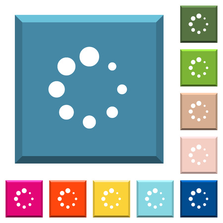 Preloader symbol white icons on edged square buttons in various trendy colors