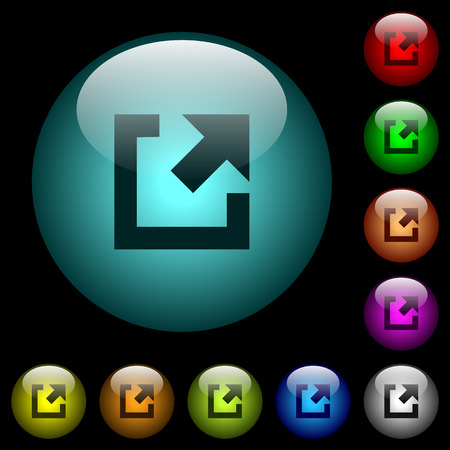 External link icons in color illuminated spherical glass buttons on black background. Can be used to black or dark templates
