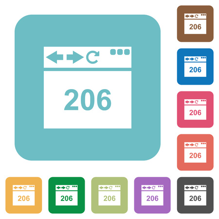 Browser 206 Partial Content white flat icons on color rounded square backgrounds