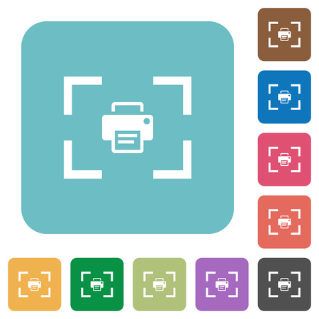 Camera print image white flat icons on color rounded square backgrounds