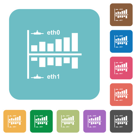 Network statistics white flat icons on color rounded square backgrounds