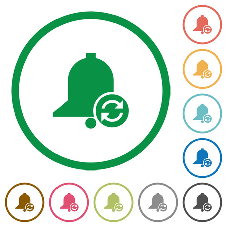 Refresh reminder flat color icons in round outlines on white background Illustration