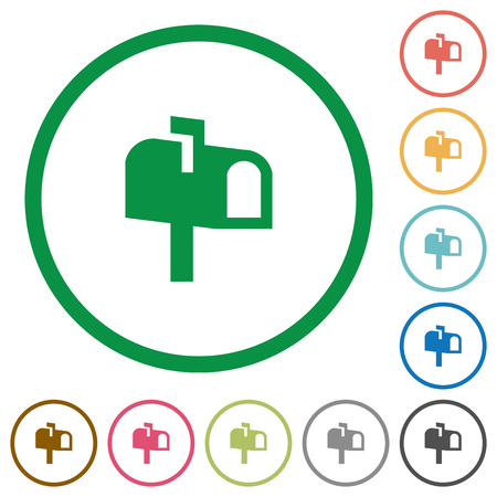 Mailbox flat color icons in round outlines on white background Illustration