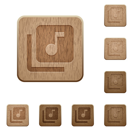 Music library on rounded square carved wooden button styles