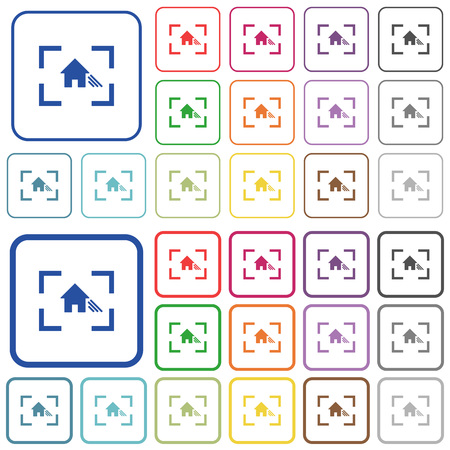 Camera white balance shade mode color flat icons in rounded square frames. Thin and thick versions included. Illustration