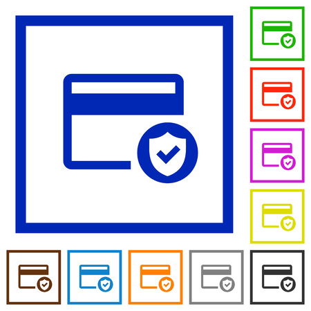 Safe credit card transaction flat color icons in square frames on white background
