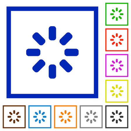 Loader symbol flat color icons in square frames on white background