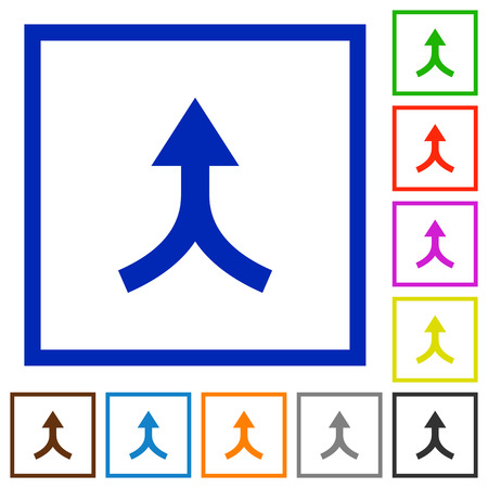 Merge arrows up flat color icons in square frames on white background Vectores
