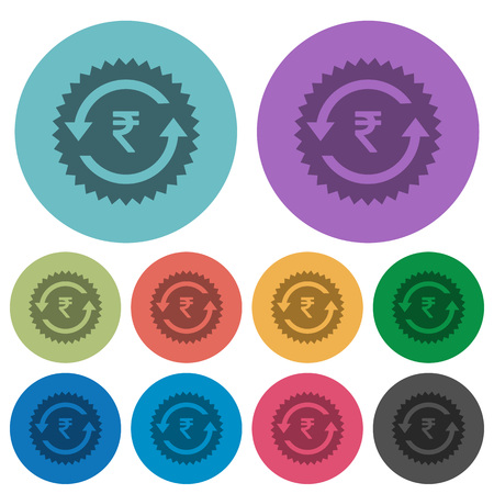 Rupee pay back guarantee sticker darker flat icons on color round background Illustration