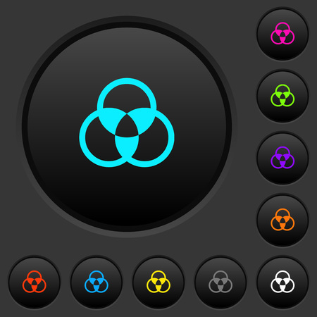 Color mixing dark push buttons with vivid color icons on dark grey background  イラスト・ベクター素材