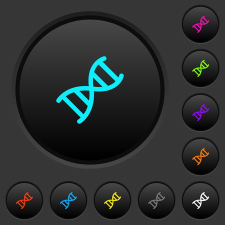 DNA molecule dark push buttons with vivid color icons on dark grey background Illustration