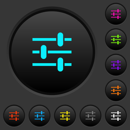 Adjustment dark push buttons with vivid color icons on dark grey background
