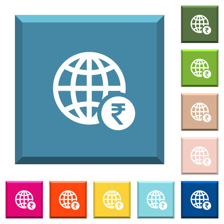 Online Rupee payment white icons on edged square buttons in various trendy colors Stockfoto - 121822659