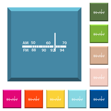 Radio tuner white icons on edged square buttons in various trendy colors