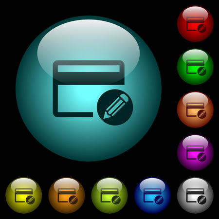 Edit credit card icons in color illuminated spherical glass buttons on black background. Can be used to black or dark templates