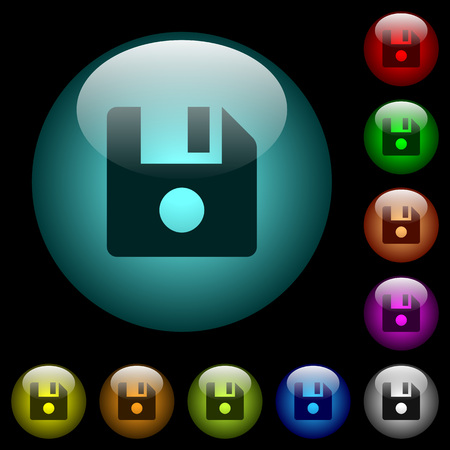 File record icons in color illuminated spherical glass buttons on black background. Can be used to black or dark templates Çizim