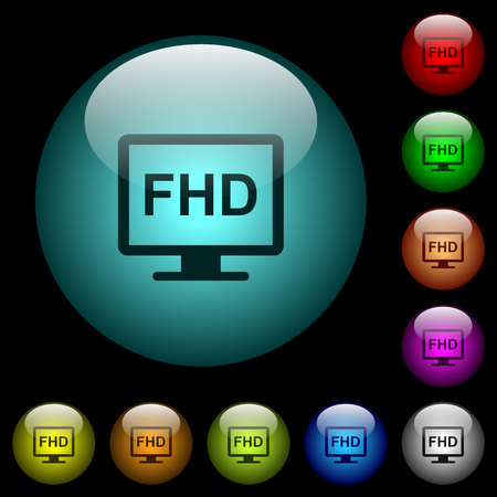 Full HD display icons in color illuminated spherical glass buttons on black background. Can be used to black or dark templates