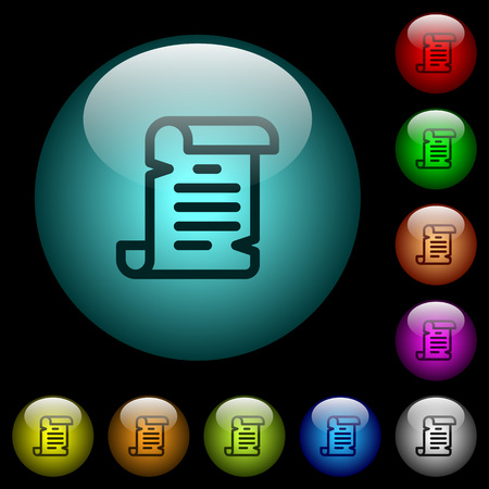 Paper scroll icons in color illuminated spherical glass buttons on black background. Can be used to black or dark templates