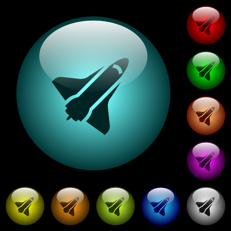 Space shuttle icons in color illuminated spherical glass buttons on black background. Can be used to black or dark templates