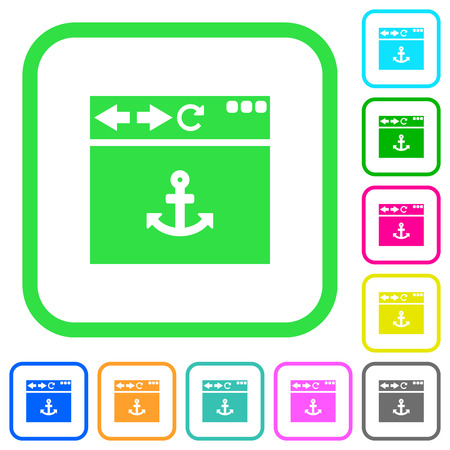 Browser anchor vivid colored flat icons in curved borders on white background