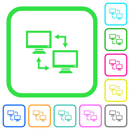 Data syncronization vivid colored flat icons in curved borders on white background