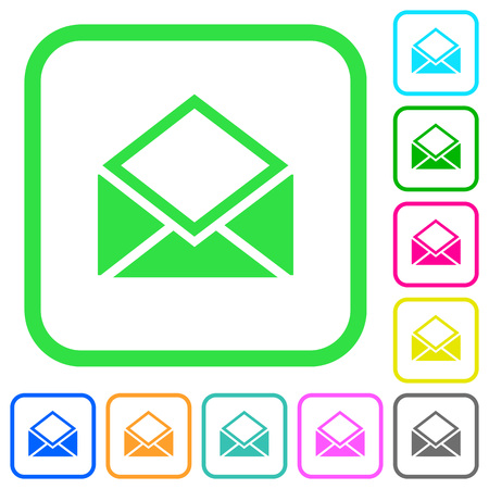 Open mail vivid colored flat icons in curved borders on white background
