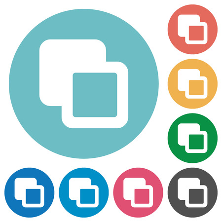 Subtract shapes flat white icons on round color backgrounds