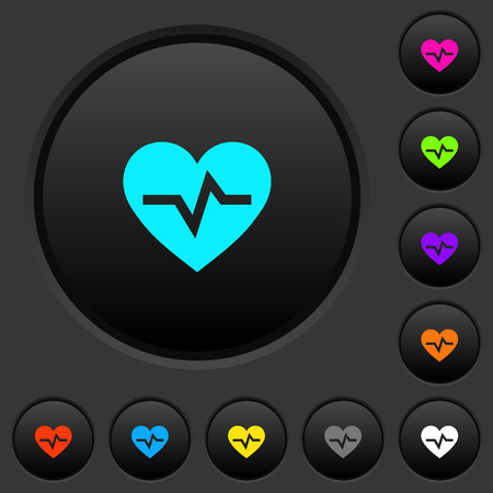 Heartbeat dark push buttons with vivid color icons on dark grey background Иллюстрация