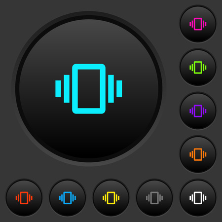 Smartphone vibration dark push buttons with vivid color icons on dark grey background