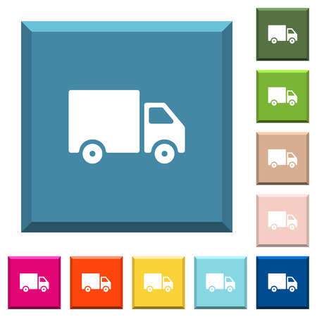 Delivery truck white icons on edged square buttons in various trendy colors
