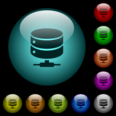 Network database icons in color illuminated spherical glass buttons on black background. Can be used to black or dark templates