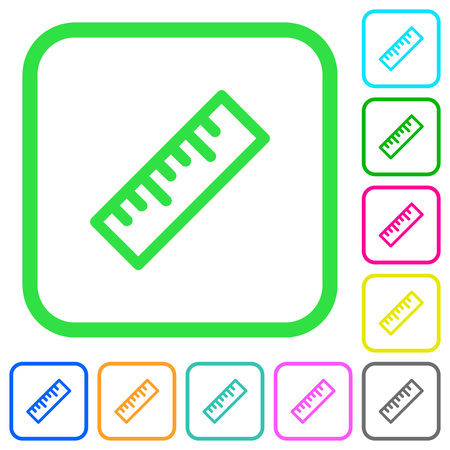 Ruler vivid colored flat icons in curved borders on white background