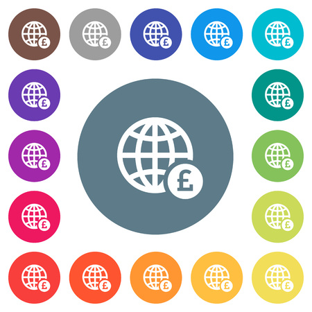 Online Pound payment flat white icons on round color backgrounds. 17 background color variations are included.