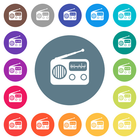 Vintage retro radio flat white icons on round color backgrounds. 17 background color variations are included.