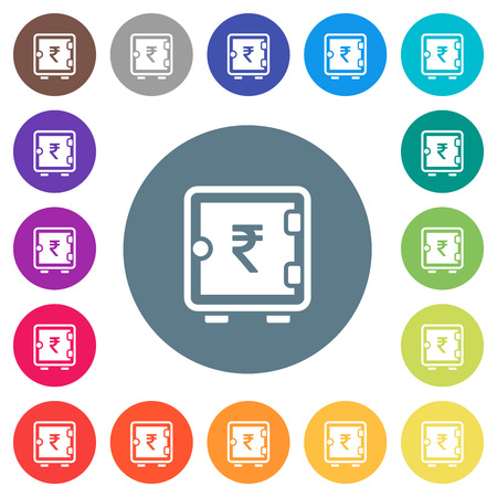 Indian Rupee strong box flat white icons on round color backgrounds. 17 background color variations are included. Illustration