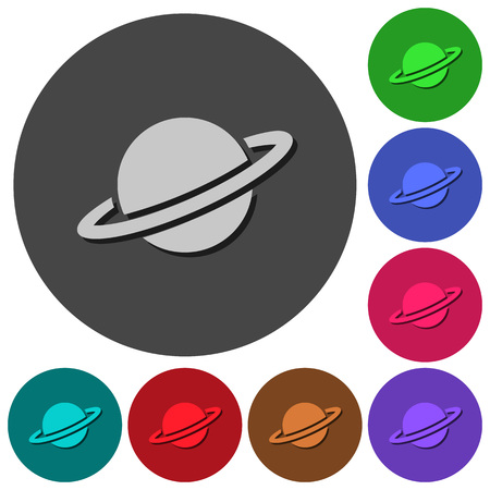 Planet icons with shadows on color round backgrounds for material design Illustration