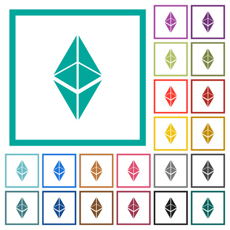 Ethereum classic digital cryptocurrency flat color icons with quadrant frames on white background