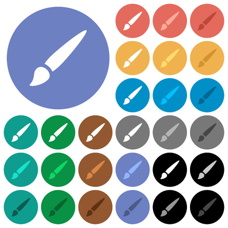 Brush multi colored flat icons on round backgrounds. Included white, light and dark icon variations for hover and active status effects, and bonus shades on black backgounds.