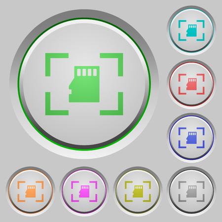 Camera memory card color icons on sunk push buttons Reklamní fotografie - 103242693