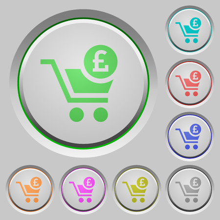 Checkout with Pound cart color icons on sunk push buttons Ilustrace