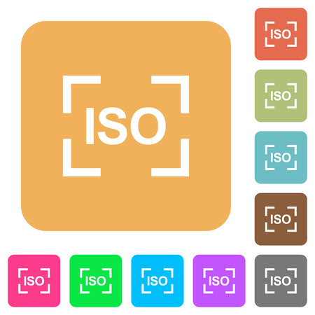 Camera iso speed setting flat icons on rounded square vivid color backgrounds.