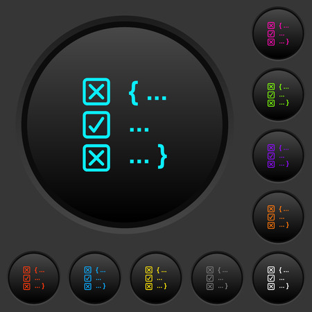 Source code checking dark push buttons with vivid color icons on dark grey background Ilustração