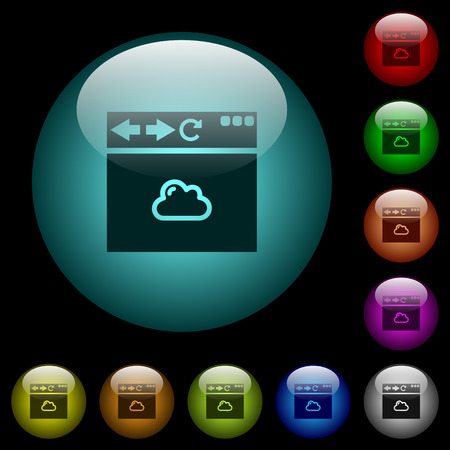 Browser cloud icons in color illuminated spherical glass buttons on black background. Can be used to black or dark templates