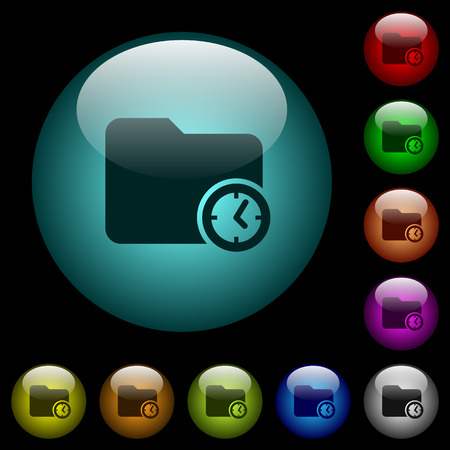 Directory creation time icons in color illuminated spherical glass buttons on black background. Can be used to black or dark templates Ilustração