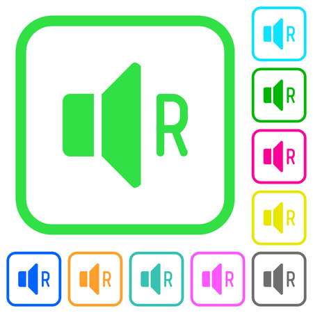 Right audio channel vivid colored flat icons in curved borders on white background Illustration