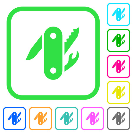Swiss army knife vivid colored flat icons in curved borders on white background