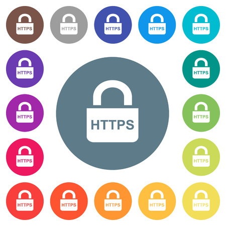 Secure http protocol flat white icons on round color backgrounds. 17 background color variations are included.  イラスト・ベクター素材
