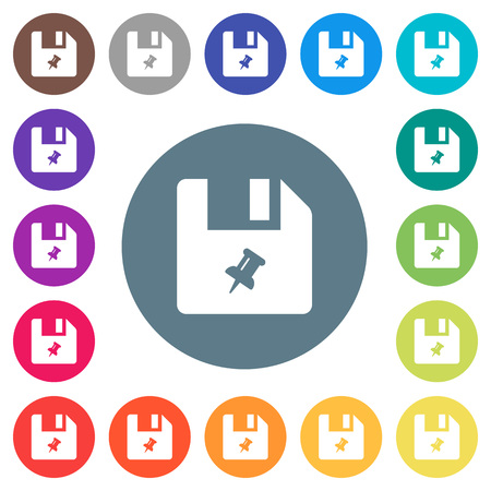Pin file flat white icons on round color backgrounds. 17 background color variations are included.
