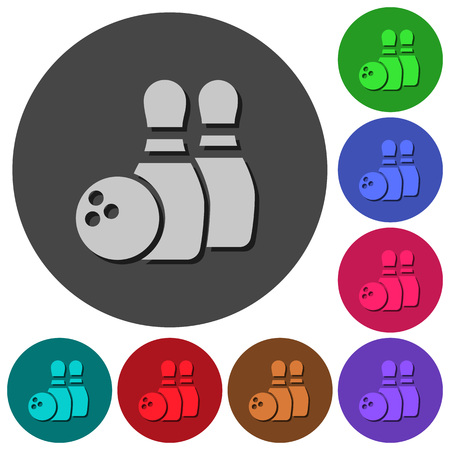 Bowling icons with shadows on color round backgrounds for material design