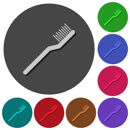 Toothbrush icons with shadows on color round backgrounds for material design Ilustração